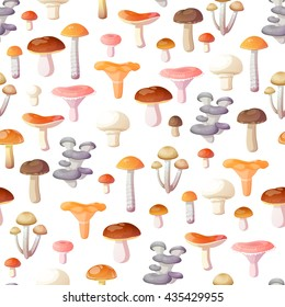 seamless pattern of edible mushrooms on white background
