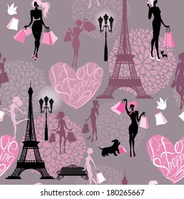 Seamless pattern - Effel Tower, hearts with calligraphic text I Love Shopping, girls silhouettes with shopping bags - Background for fashion or retail design