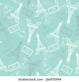 seamless pattern with eiffel tower and stamps.vector, Endless texture can be used for wallpaper, pattern fills, web page background,surface textures.
