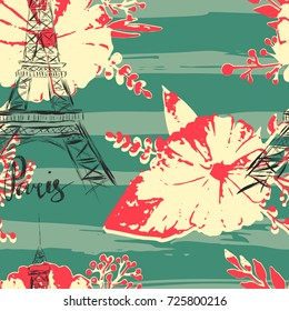 Seamless pattern with Eiffel Tower and watercolor flowers on stripes in grungy style