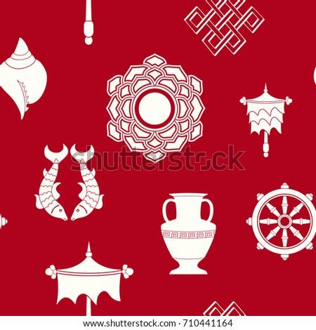 Seamless Pattern Eight Auspicious Symbols Buddhism Stock Vector