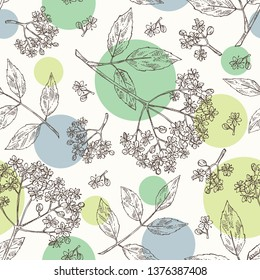 Seamless pattern with elderberry black: branch  with elderberry flowers and leaves.  Cosmetic and medical plant. Vector hand drawn illustration.