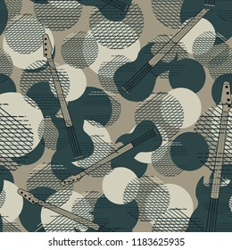 Seamless pattern with electric guitars, circles. Grunge.