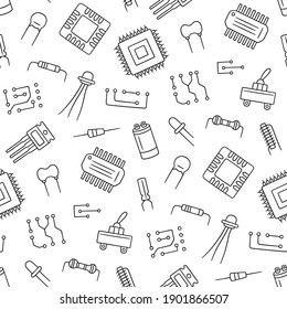 Seamless pattern from electrical components. Microchip, diode, transistor capacitor, resistor. Computer parts. Hand drawn vector illustration on white background