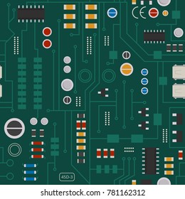 Seamless pattern of electronic circuit with diodes, chips and transistors. Vector background electrical motherboard and component illustration