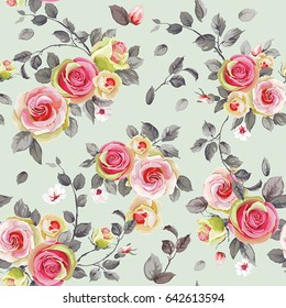 Seamless pattern with elegance blooming english roses. Spring vintage floral background. Beautiful vector illustration texture