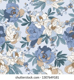 Seamless pattern with elegant bouquet of peonies