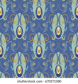 seamless pattern, elegant and luxurious for textiles and paper, in Art Deco style, elegant blue coloring