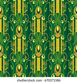 seamless pattern, elegant and luxurious for textiles and paper, in Art Deco style, elegant green coloring