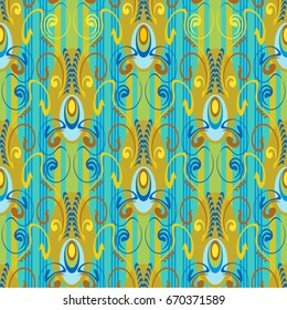 seamless pattern, elegant and luxurious for textiles and paper, in Art Deco style, tropical colors