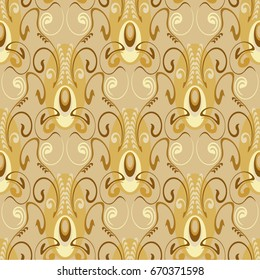 seamless pattern, elegant and luxurious for textiles and paper, in Art Deco style, elegant beige colors