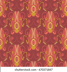 seamless pattern, elegant and luxurious for textiles and paper, in Art Deco style, elegant red coloring