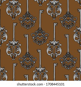 seamless pattern, elegant vintage baroque keys, damask, ornament for wallpaper, textiles, fabrics, wrapping paper, background for different design