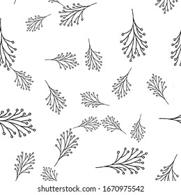 Seamless pattern of elements of leaves and flowers. Hand drawn vector illustration in doodle style. Elements for greeting cards, posters, stickers and seasonal design.