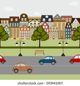 Seamless pattern with elements ot the city streets