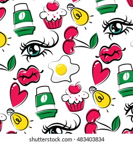 Seamless pattern of the elements in style fashion doodle. Eye with long lashes, lush lips, eggs and coffee, cupcakes with cherries. All this in a bright and juicy colors.