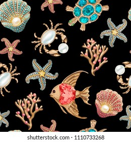 Seamless pattern. Elements of the underwater marine world on a black background. Imitation of jewelry.