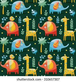Seamless pattern with elephants, giraffe, bird, palm, plants, jungle, animals