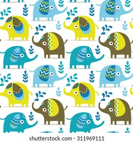 Seamless pattern with elephants, plants, jungle, animals, Valentine's day, lovers, couple