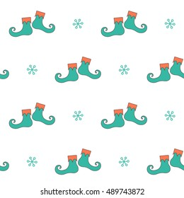 Seamless pattern with elf shoes for Christmas design