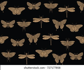 Seamless pattern with embroidered insects. Golden butterflies and dragonflies on a black background for textile or book covers, manufacturing, wallpapers, print, gift wrap