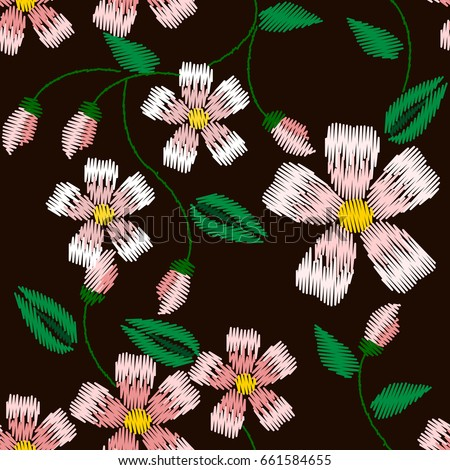 Seamless Pattern Embroidery Apple Flowers Modern Stock Vector