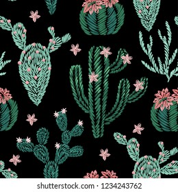 Seamless pattern of embroidery cactus plants on black background.