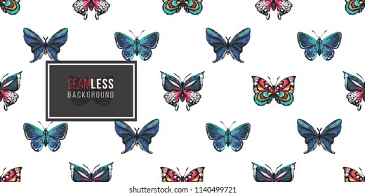 Seamless pattern with embroidery colorful and blue butterflies. Fashion patch background with insects.