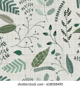 seamless pattern. Embroidery floral elements, leaves, twigs, berries, flowers, meadow. Floral wall art embroidery home decor. Set of hand drawn doodles design elements. Linen cloth texture. Colorful