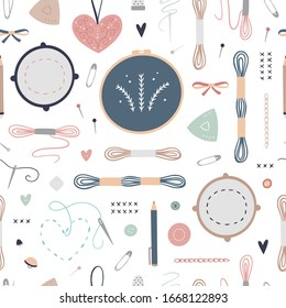 Seamless pattern with embroidery illustrations. Vector digital paper with cute hand drawn equipment for craft, sewing and hand made