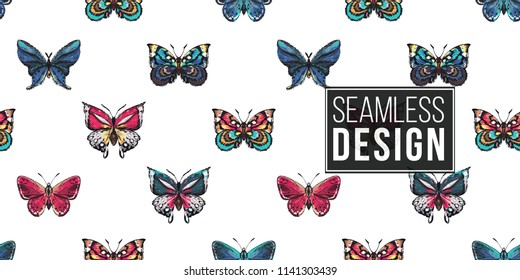 Seamless pattern with embroidery small and big, red, blue and colorful tropical butterflies. Fashion patch background with insects.