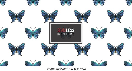 Seamless pattern with embroidery small blue butterflies. Fashion patch background with insects.