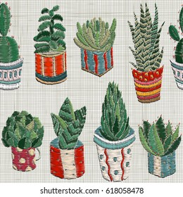 seamless pattern with Embroidery succulents, cactus and pots. Cactus wall art embroidery home decor cacti succulents. Set of hand drawn doodles design elements. Linen cloth texture.  Colorful floral.