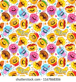 Seamless pattern emoji fast food smile. Vector summer illustration ice-cream, drink, pita, hot dog, hamburger, donut, french fries, pizza.