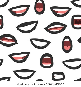 Seamless pattern with emotional punk women's lips. Cartoon style illustration gothic mouth. Hand drawn vector facial expression. Black lipstick