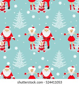 seamless pattern. EPS 10 vector illustration. used for printing, websites, design Christmas theme. tree from snowflakes on a blue background with Santa Claus and baby and Mrs. Santa Claus blonde