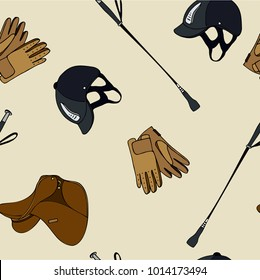 seamless pattern equestrian sport clothing gloves whip helmet