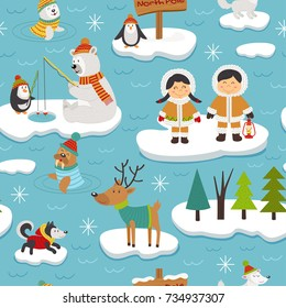 seamless pattern with Eskimos and arctic animals on ice floes - vector illustration, eps