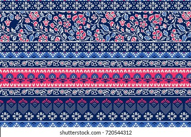 seamless pattern with ethnic borders flowers. Vector Floral Illustration in asian textile. Ethnic line borders.