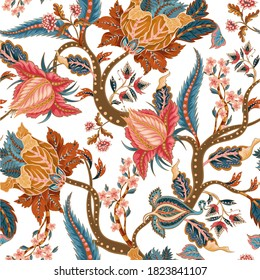 Seamless pattern with ethnic Japanese ornament elements. Folk flowers and leaves for print or embroidery