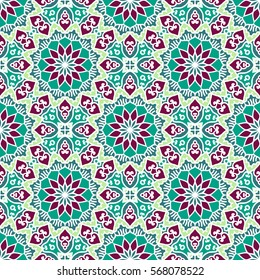 Seamless Pattern With Ethnic Ornament. Abstract Background For Design
