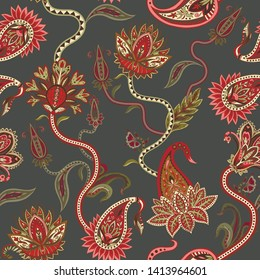 Seamless pattern with ethnic  ornament elements and paisleys. Folk flowers and leaves for print or embroidery.