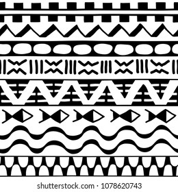 06de3ec86fb8c Seamless pattern in ethnic style. Ornamental element African theme. Set of  vintage decorative tribal. Kowhaiwhai Patterns. Maori Koru Borders