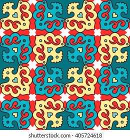 Seamless pattern ethnic style. Vintage decorative texture. Indian, arabic motive.