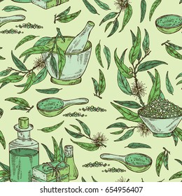 Seamless pattern with eucalyptus, essential oil, soap, bath salt and mortar and pestle. Cosmetic, perfumery and medical plant. Vector hand drawn illustration