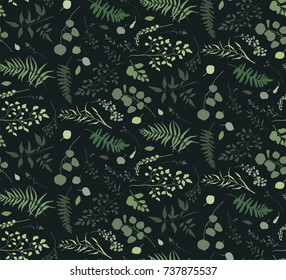 Seamless pattern of Eucalyptus palm fern different tree, foliage natural branches, green leaves herbs berries tropical heel hand drawn silhouette watercolor Vector decorative beauty elegant background