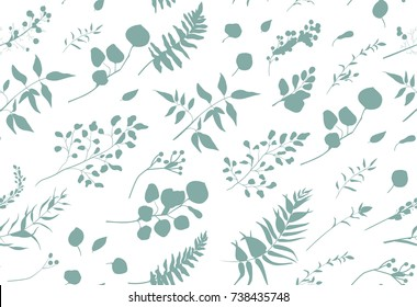 Seamless pattern of Eucalyptus palm fern different tree, foliage natural branches, blue leaves, herbs, berries tropical heel hand drawn silhouette, watercolor Vector beauty elegant background on white