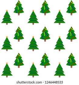 Seamless pattern evergreen tree to new year and christmas holiday. Vector xmas firtree and illustration tree with colored bauble