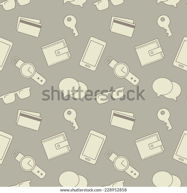 Seamless Pattern Everyday Objects Sunglasses Key Stock