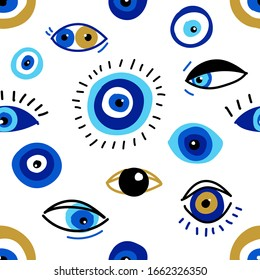 Seamless pattern with evil eyes, different talismans in hand drawn flat design, contemporary modern trendy style, vector illustration